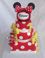 Minnie Mouse Theme Fondant Cake With Edible Mouse Hat and Edible Gumpaste Minnie Mouse Figurine main view