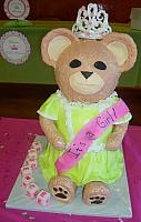 Giant Carved Teddy Bear Fondant Cake With Tiara - Stands 2 Feet Tall