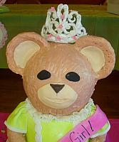 Giant Carved Teddy Bear Fondant Cake With Tiara close up