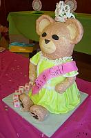 Giant Carved Teddy Bear Fondant Cake With Tiara view 2