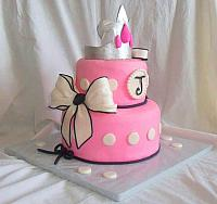 Barbie Princess Theme Fondant Cake with Crown, Bows side 1
