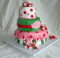 Strawberry Shortcake Baby Shower For Girl Fondant Cake view 1