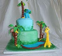Jungle or Safari Baby Shower Cake with Edible Monkey in Banana Trees, Elephant, Giraffe, and Pond