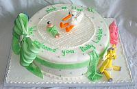 Baby Shower Cake with Edible Stork, Giraffe, Pig, Elephant, Infant Figurines