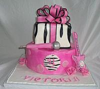 Pink, Black Zebra Striped Birthday Cake front view