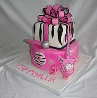 Pink, Black Zebra Striped Birthday Cake side 1