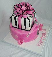 Pink, Black Zebra Striped Birthday Cake side 2
