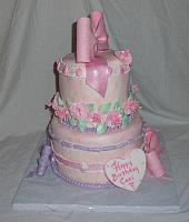 Whimsical Birthday Cake for Girl With Fantasy Flowers, Bows side view