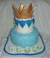Baby Shower Cake for Boy With Edible Golden Crown, Baby Blocks