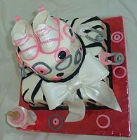Whimsical Pink, Grey, Black, and White Zebra Striped Baby Shower Cake right side