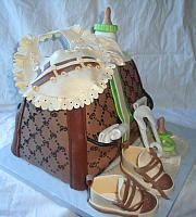 Green, Ivory, and Brown Baby Diaper Bag Fondant Cake view 2