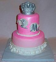 Princess or Cinderella Themed Fondant Cake with Ornate Edible Silver Crown