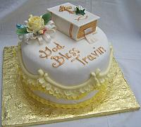 Christening Cake with Edible Bible, edible flowers, edible ruffles.