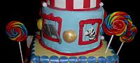 Circus Or Carnival Theme Tiered Cake Zebra Elephant Animals Close Up
