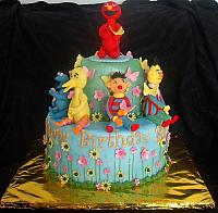 Sesame Street Garden Theme Fondant Cake with Elmo, Cookie Monster, Big Bird, Bert, and Ernie - main view