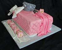Baby Shower Princess Theme Fondant Cake with Crown, Quilted Sides, Baby Blocks, 
