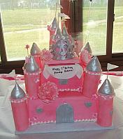 Pink and Silver Castle Fondant Cake with Edible Towers, Princess Crown, and Peony Flowers
