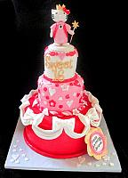 Hello Kitty Sweet 16 Pink, Red, White Fondant Cake with Bows, Hearts, Edible Figurine