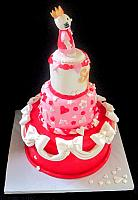Hello Kitty Sweet 16 Pink, Red, White Fondant Cake side view