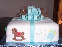 Baby Shower Present Cake with Rocking Horse and Baby Clothes