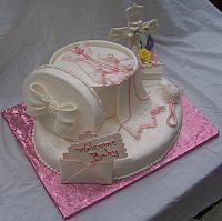 Side view of Baby Girl Shower Cake for Baptism or Christening