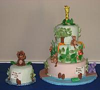 Jungle Animal cake for AJ Rossignol first birthday party