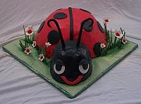 Front view of ladybug birthday cake with edible gumpaste decorations.  Ladybug was frosted in real italian buttercream and then covered with red fondant.