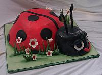 Side view of lady bug cake.  Flowers and grass are made out of gumpaste and then the grass was luster-dusted.
