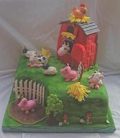 Farm Cake with Barn, Cows, Pigs, Sheep, Rooster, Haystack, Mud Puddle