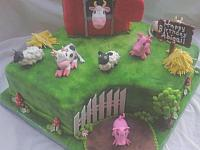 Farm Cake With Barn And Animals - animals close up