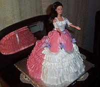 Doll Cake with Large Ruffled Train