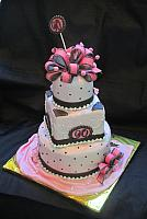 90th Pink and Brown Birthday Cake