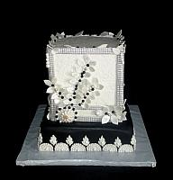 Art Deco or Great Gatsby Black and White Fondant Cake