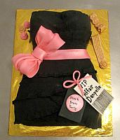 Black Dress Party Fondant Cake