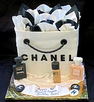 Chanel Shopping Bag Cake with Edible Chanel Perfume Bottles