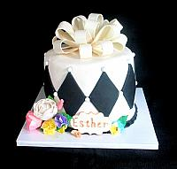Classic Black and White Celebration Cake for Esther