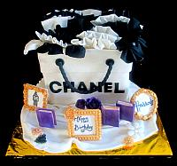 Fashionista Chanel Shopping Bag Cake with Framed Pictures, Books