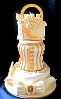 Fashionista Ivory Gold Tiered Cake with Edible Purse, Bow, Gold Frame Plaque