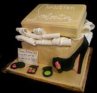 Fashionista Louboutin Shoebox Cake with 2-D Shoe, Edible Makeup, Tissue