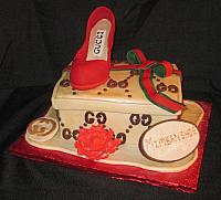 Fashionista Shoe and Shoebox Gucci Theme Cake