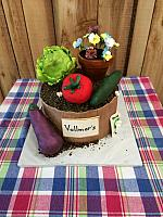 Garden Theme Fondant Cake With Vegetables and Flowers