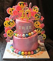 Hippie or Sixties Theme Topsy Turvy Fondant Cake