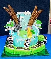 End Of World Mayan 2012 Asteroids, Burning Buildings, Waves, Dinosaurs Surfing, Earthquake, Roads Buckling Cake Main View