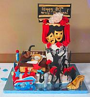Multi-theme 80th Birthday Fondant Cake with 6 Themes - Karaoke, Reading, Buffalo Bills, Bingo, Theater, Swing Dance