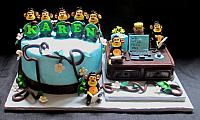 Retirement Fondant Cake with Note-Taking Monkeys, Vines, Desk, Computer, Flowers