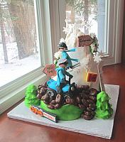 Sports Theme Skiing, Four Wheeling Retirement Cake