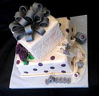 Stacked Presents Cake with Edible Jewelry for Bridal Shower or other celebrations