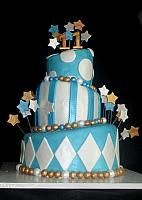 Topsy Turvy Blue, White and Gold Cake