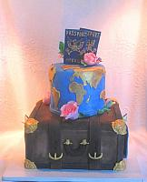 Travel Theme Cake with passport, suitcase, world map
