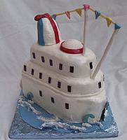 Cruise ship cake - all decoration edible - handmade gumpaste decorations